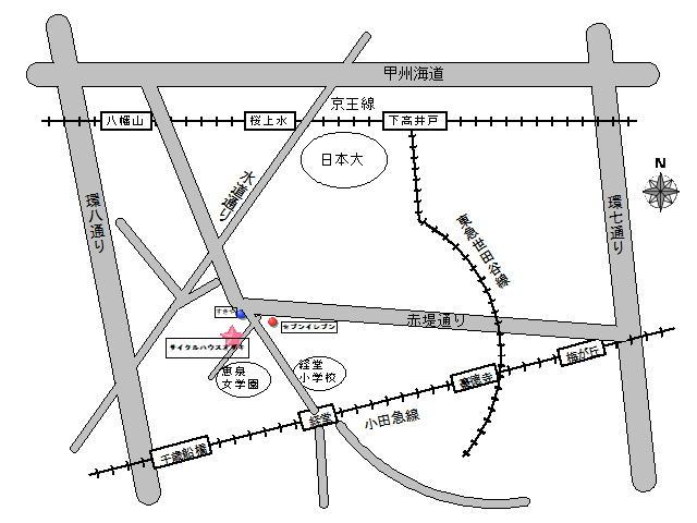サイクルハウスオザキへの地図